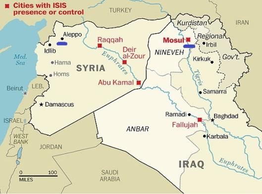 Junio 2014 - Ciudades con presencia o control de ISIS - Washington Post