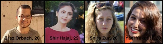 Víctimas del atentado: Erez Orbach, 20. Shir Hajaj, 22. Shira Zur, 20. Yael Yekutiel, 20.