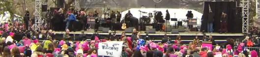 Washingon, acto contra Trump, 21 ene 2017. Las zorras optaron por el femenino tono rosa para sus gorritos.